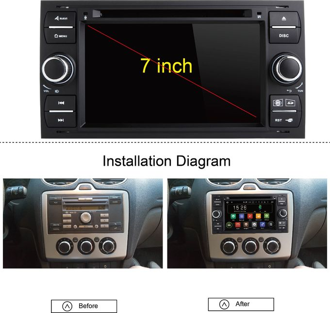 Black Panel Ford Transit Dvd Player , Ford Fusion Dvd Player With Screen Mirroring Function