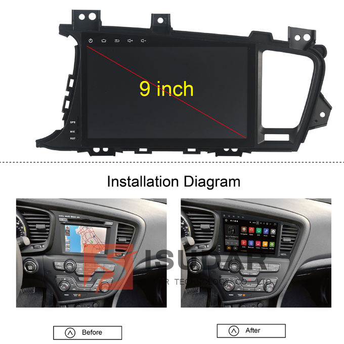 9 Inch 2 Din Car Multimedia Navigation System , Kia K5 / Kia Optima Dvd Player