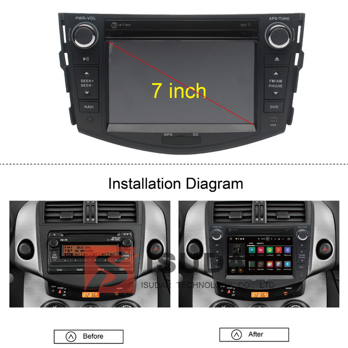 HD 1024*600 Touch Screen Toyota DVD GPS Navigation With DAB + Tuner Mirrorlink