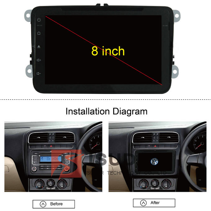 Built In WiFi 8 Inch Touchscreen Car Stereo , VW Passat Dvd Player With TPMS  3G WIFI
