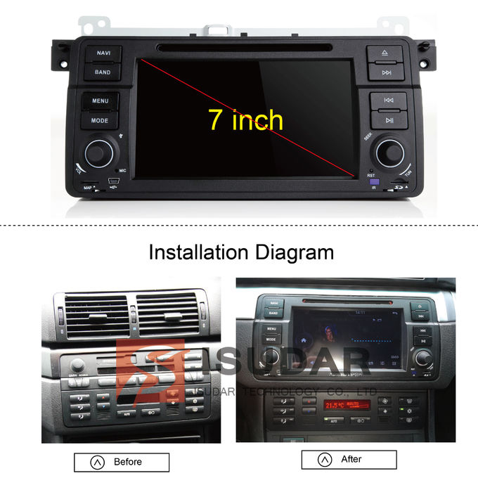 Split Screen Mode Bmw E46 Sat Nav , Android Auto Car Radio With